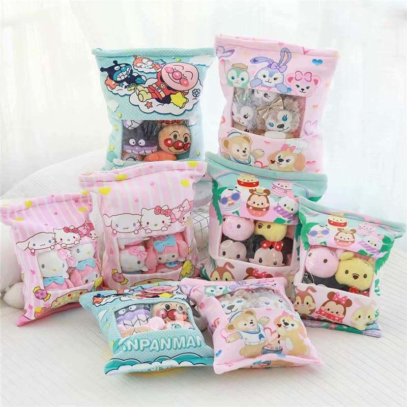A Plushie Bag Of Rabbit Dog Hamster Cat Avocado Pudding Doll Plush Japanese Cute Toy Stuffed Animals Kawaii Soft Plushies Toys