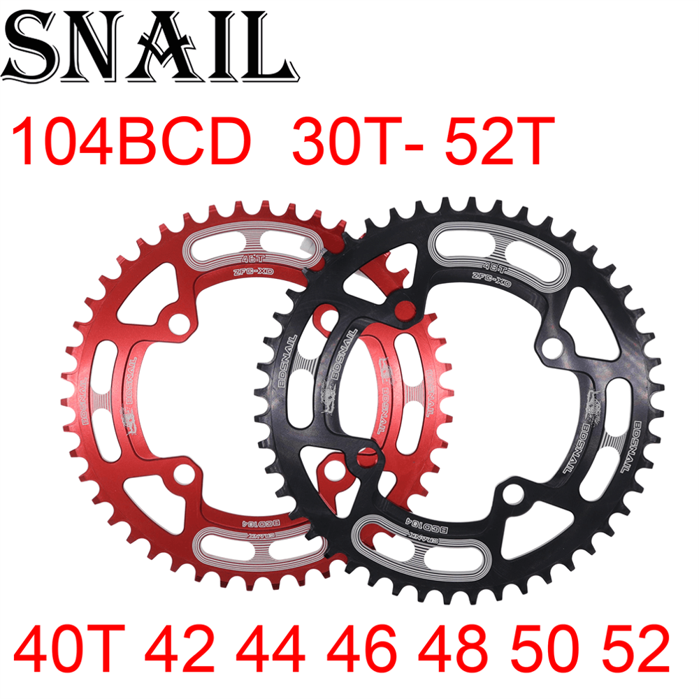 SNAIL Chain Ring 104 BCD Round 30t 32t 34t 36t 38t 40t 42t 44t 46t 48t 50t 52t Tooth Single Tooth Plate MTB Mountain Bike 104BCD