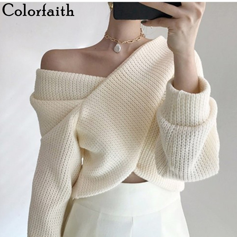 Colorfaith 2019 Autumn Winter Women Pullovers V-neck Sexy Sweater  Knitting  Pull Sexy Casual Ladies Elegant Jumper Tops SW3053