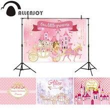 Allenjoy fotografia sfondo rosa castello della principessa girl banner del carrello della zucca di compleanno baby shower decor sfondo photophone