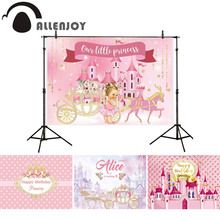 Allenjoy photography backdrop pink castle princess girl banner pumpkin carriage birthday baby shower decor background photophone