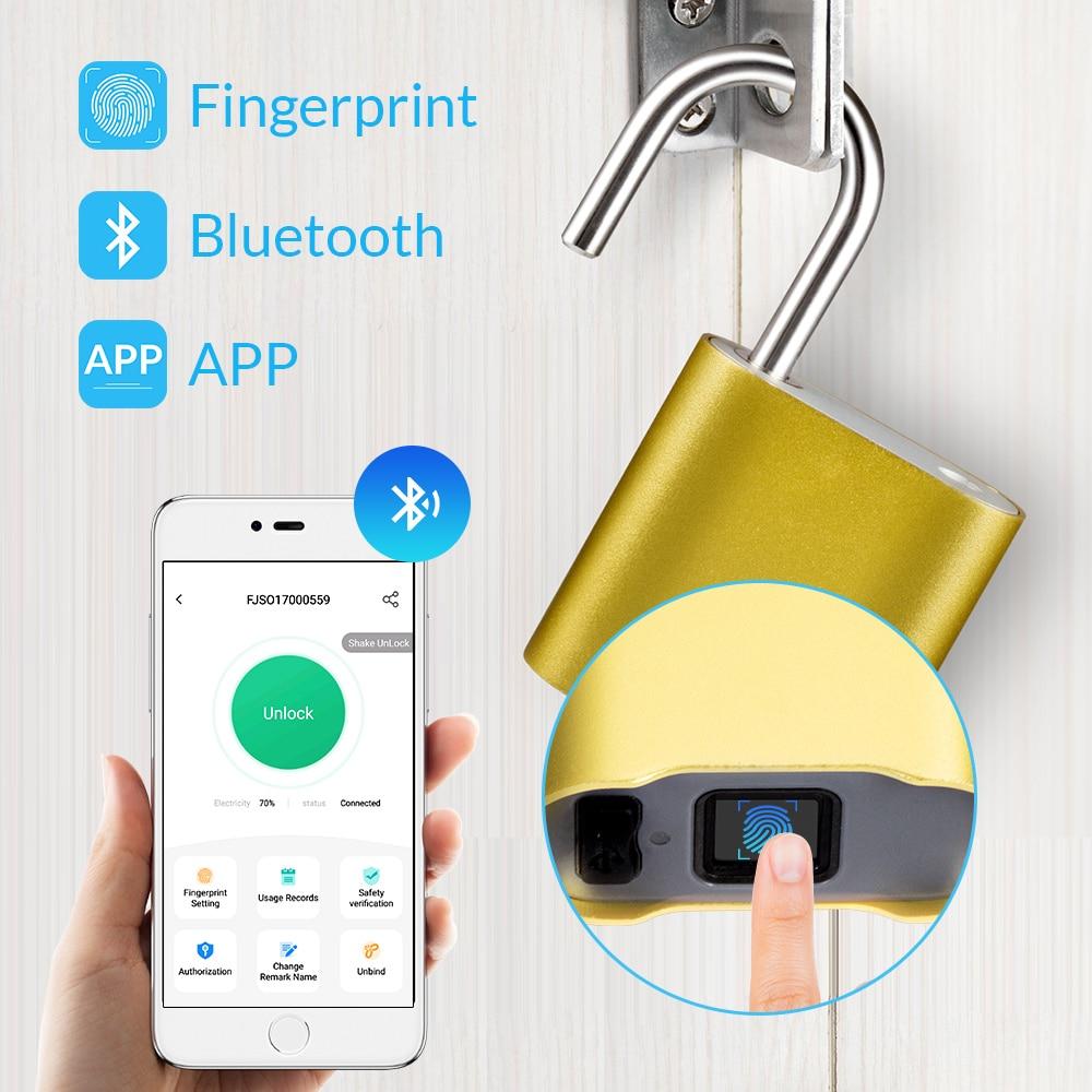 KERUI intelligent sans clé empreinte digitale cadenas étanche APP Bluetooth empreinte digitale déverrouiller USB Rechargeable porte fixation rétractable et mécanisme d'attache de sécurité serrure