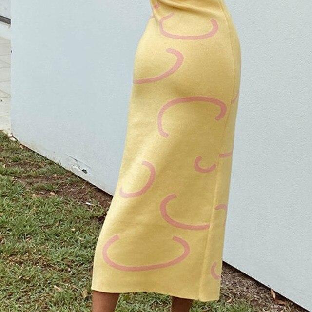 Sexy Knit Dress Women Y2K Yellow Print Bodycon Sleeveless Midi Backless Spaghetti Strap Dresses Summer Beach Robe Vestidos 2021 6