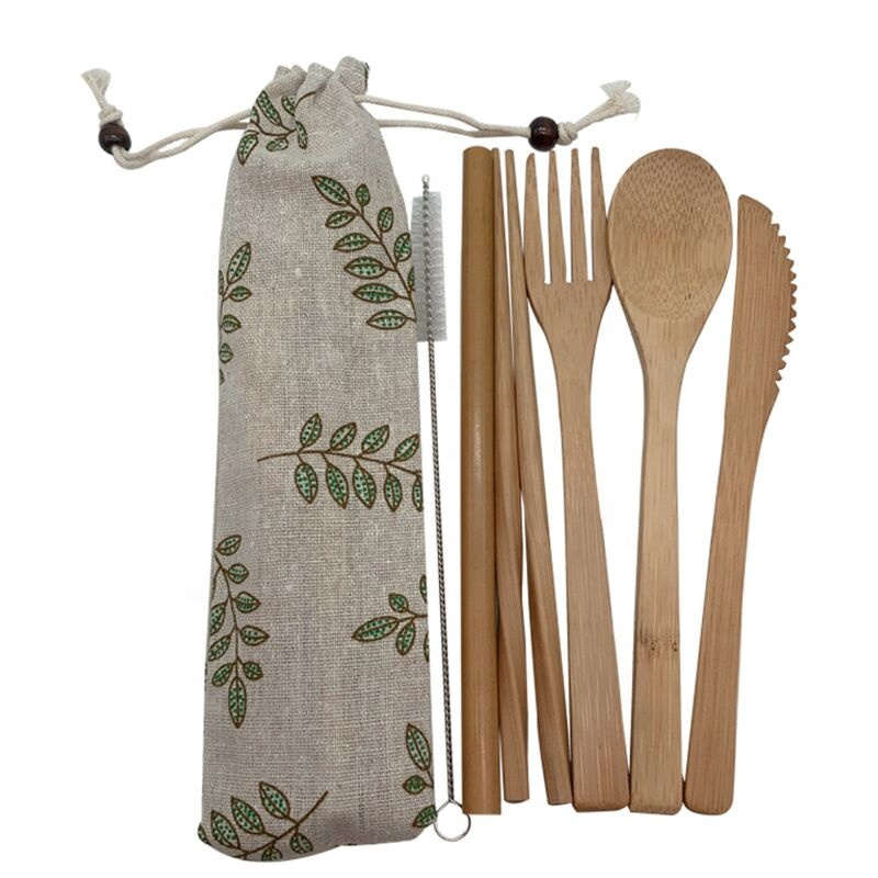 Travel camping bamboo Cutlery Set Eco friendly Flatware Set Reusable Portable Utensils Travel Cutlery Set in Dinnerware Sets from Home Garden