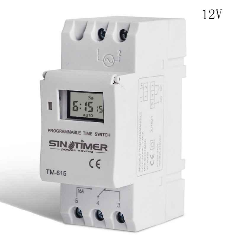 TM615 12/24/110/220V สวิทช์จับเวลา 7 วัน 24 ชั่วโมงโปรแกรม LCD รีเลย์ 35ED