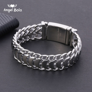 Buddha Bracelet 20mm Heavy Men's Curb Cuban Link Silver Color 316L Stainless Steel Wristband Male Jewelry with Logo(China)