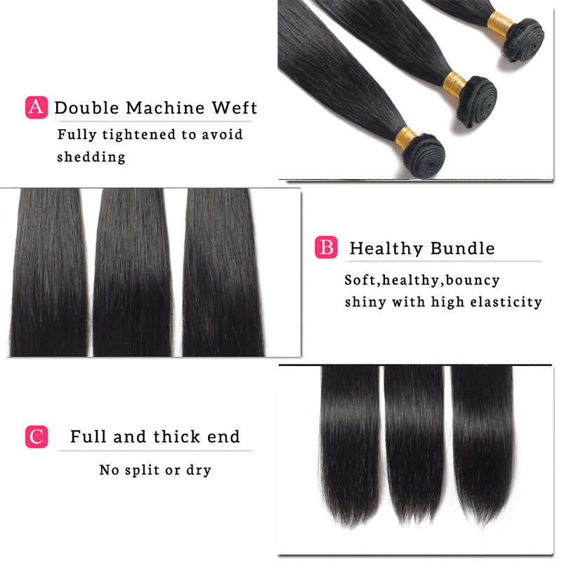 YELO High Ratio Brazilian Remy Straight 3Pcs/lot 100% Human Hair Extensions 8 30inch Natural Color Free Shipping - 4