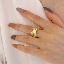 Perisbox Cadena de hueso de serpiente tejido anillo de oro doble capa cruzada anillos geométricos para mujer Vintage minimalista anillo Ins moda