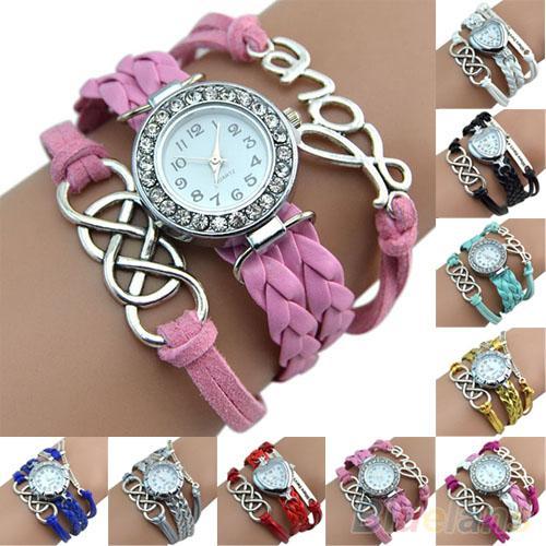 Vintage Women Watches Retro Eight Love Heart Charm Wristwatches Faux Leather Band Braid Bracelet Wrist Watch Ladies Watches