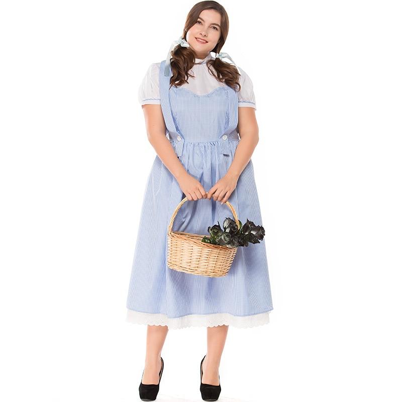 Umorden yetişkin Dorothy sihirbazı elbise kostüm artı boyutu XXXL kadın cadılar bayramı klasik kostümleri Cosplay