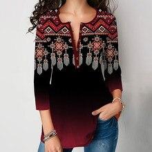 New Elegant V-Neck Tops Women 2020 Casual 3/4 Sleeve Plus Size Print Blouse Shirt Autumn Loose Streetwear Pullover Blusa 5XL