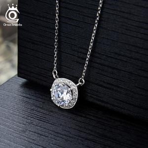 Image 5 - Orsa jóias reais 925 prata mulher redonda pingentes colares de prata esterlina aaa cz clavícula corrente colar jóias femininas sn136