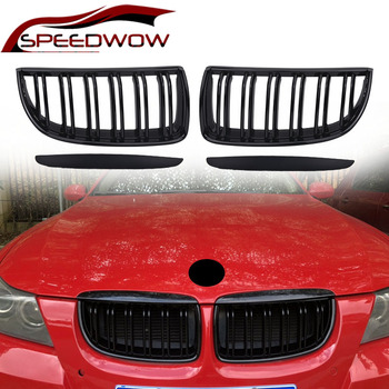 SPEEDWOW Car Front Grilles Auto Left Right Grille For BMW E90 2005 2006 2007 2008 Gloss Matte Black Car Exterior Parts 1 Pair image