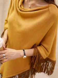 Пончо женские вязаные свитера пальто 2019 весна осень однотонный элегантный пуловер Джемпер неровная кисточка подол накидка Pull Femme