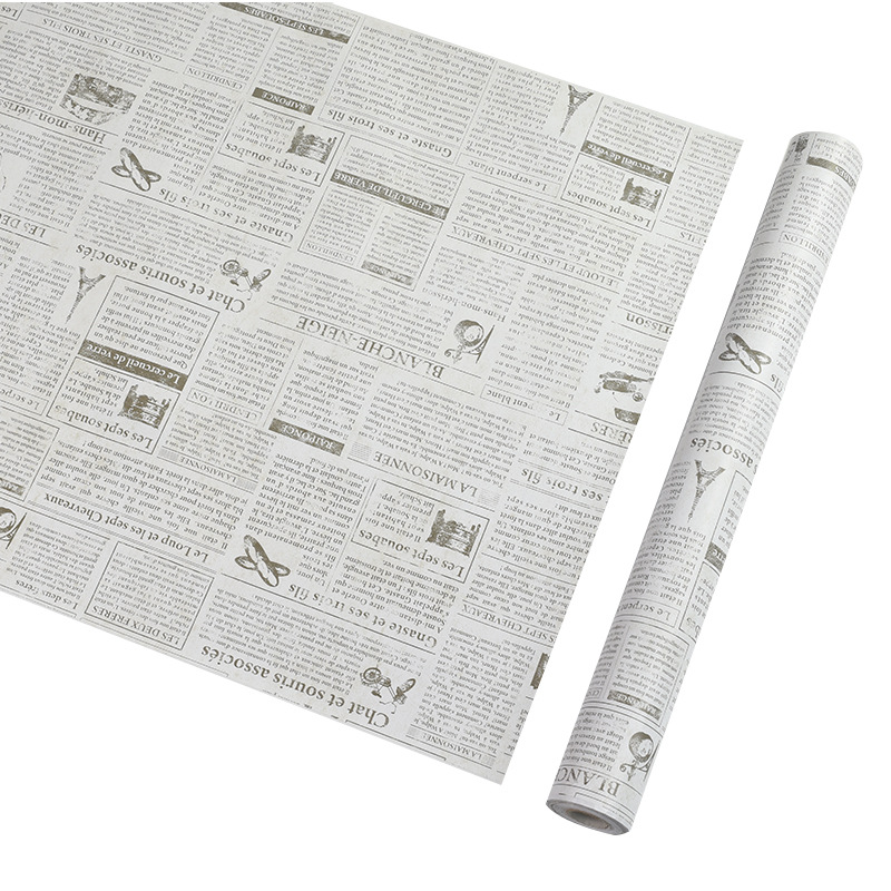 Old Newspaper Wall Wallpaper DIY Transformation Dormitory PVC Wallpaper Self-Adhesive Waterproof Wallpaper Retro English Newspap