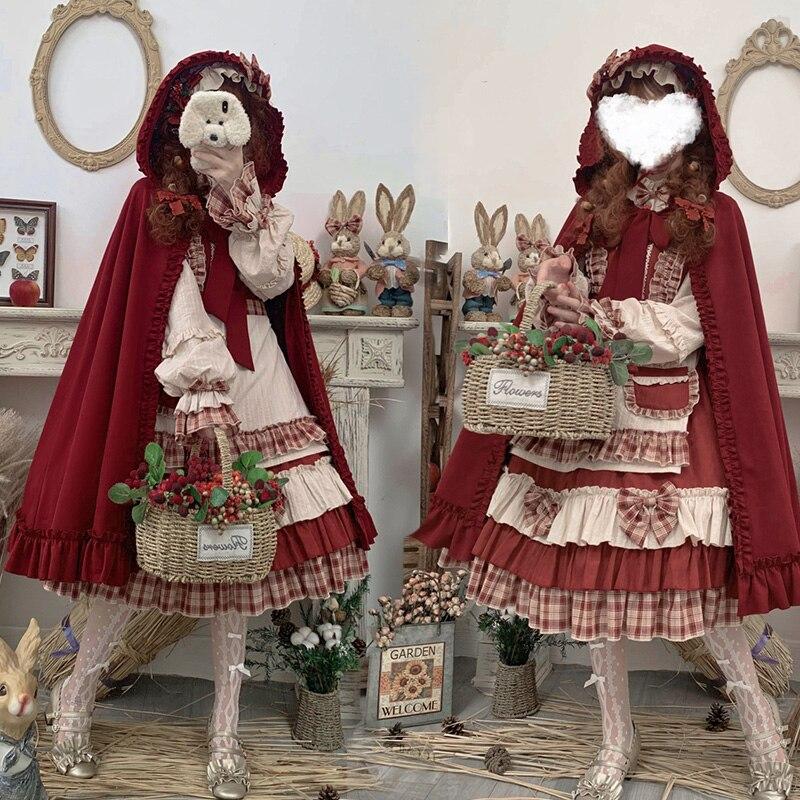 Купить японское винтажное платье лолиты с бантом и подставкой каваи