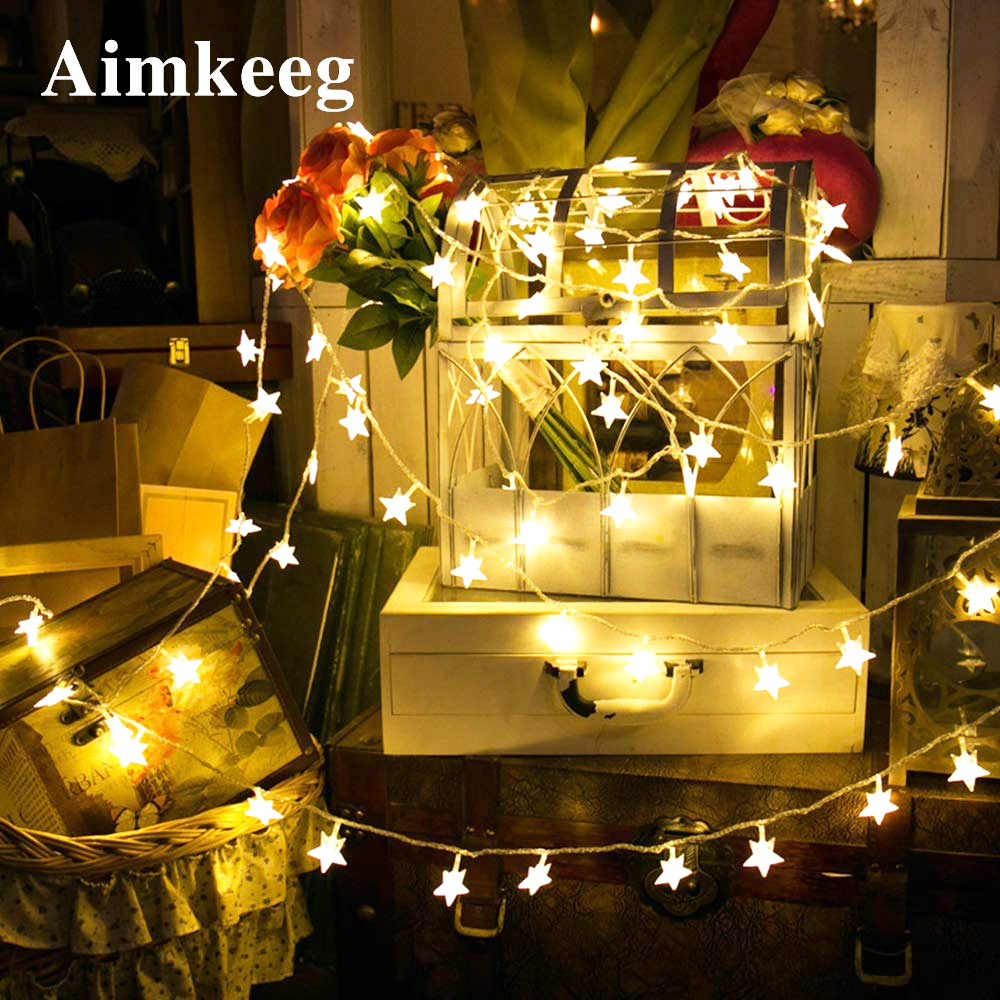 Christmas Decor Light Star Shape Holiday LED String Lights Garland Festival Lighting For Home Kid Bedroom Living Room Decoration