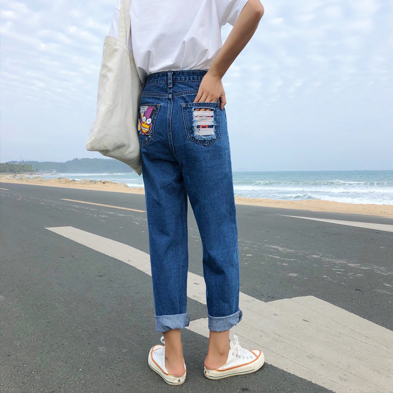 2019 Summer New Style Simpson 2-Color Cowboy Dad Pants Women's Slimming Harem Pants Trousers High-waisted WOMEN'S Dress New Prod