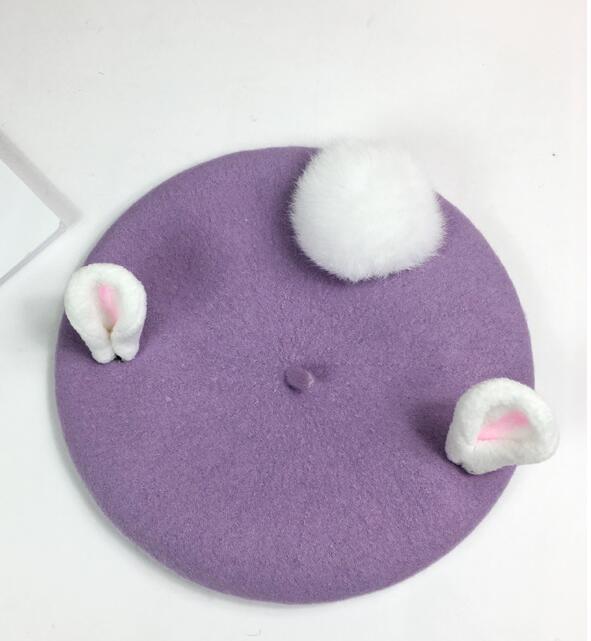 Handmade Wool Felt Berets Women Fashion Valentine's Day Gift Cute Rabbit Ears Winter Hat For Women Handmade Vintage Pink Caps