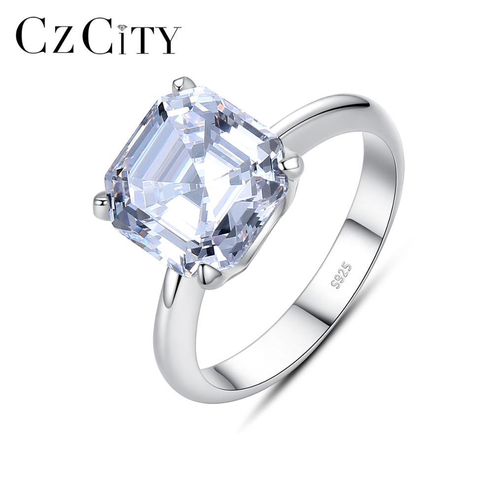 Женское кольцо из стерлингового серебра 925 пробы CZCITY, квадратное кольцо с кубическим камнем, ювелирные украшения для свадьбы, помолвки, подарка на день рождения, Anello SR 492|Кольца|   | АлиЭкспресс