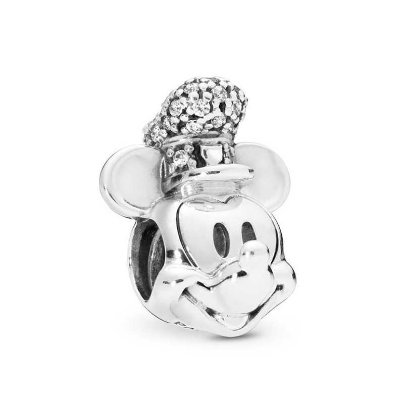 BAOPON 2 ชิ้น/ล็อตการ์ตูน Mickey Minnie ลูกปัดเหมาะกับสร้อยข้อมือ PANDORA สร้อยคอสร้อยคอทำ DIY Charms สร้อยข้อมือผู้หญิงเครื่องประดับของขวัญ