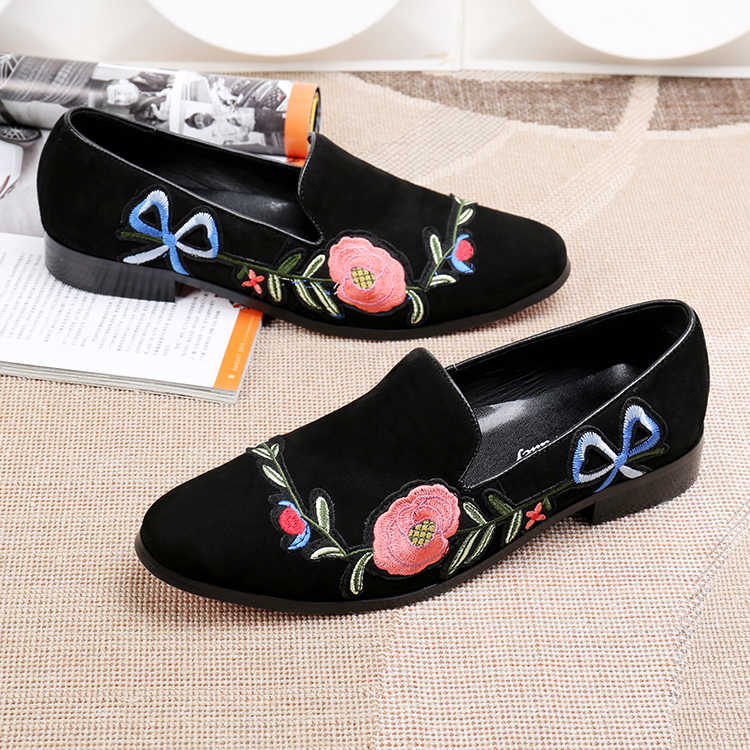 Haft z różami modne buty wiosna zamszowa głowa obuwie Oxford buty bankietowe i biurowe męskie buty