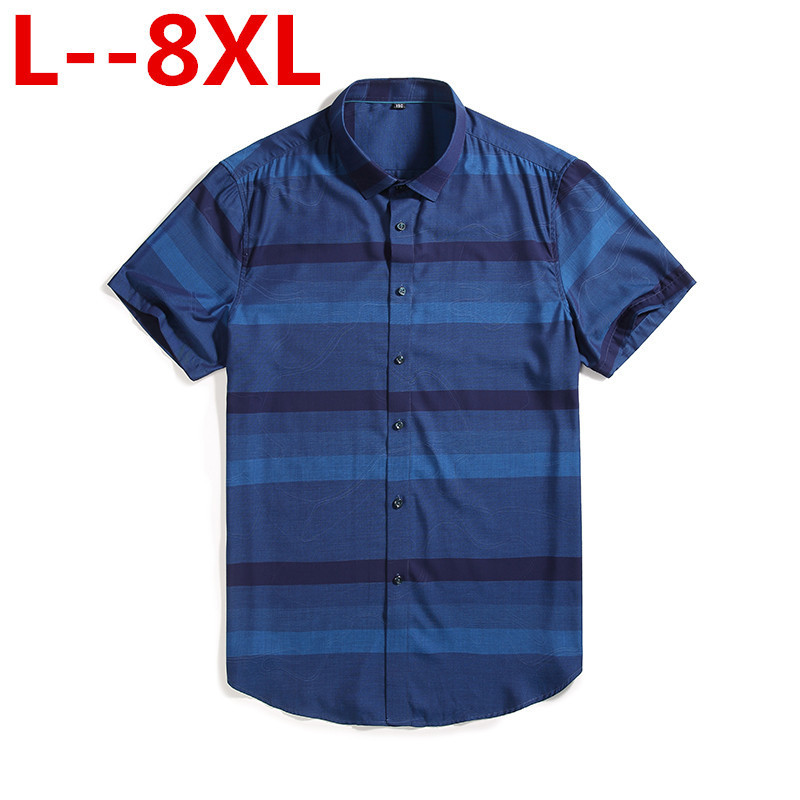 Plus Size 8XL 7XL Men Short Sleeve Shirts Male Striped Classic-fit  Comfort Soft Casual Button-down Shirt Casual Male Shirt Tops