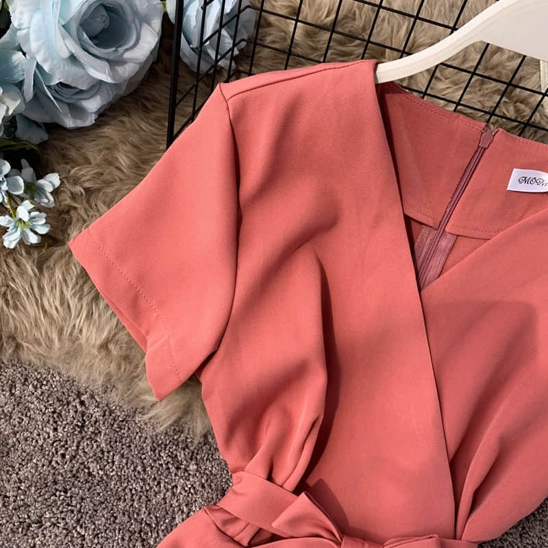 H71a51cf96f314445863b329aeac3115ay - Candy Color Elegant Jumpsuit Women Summer Latest Style Double Ruffles Slash Neck Rompers Womens Jumpsuit Short Playsuit