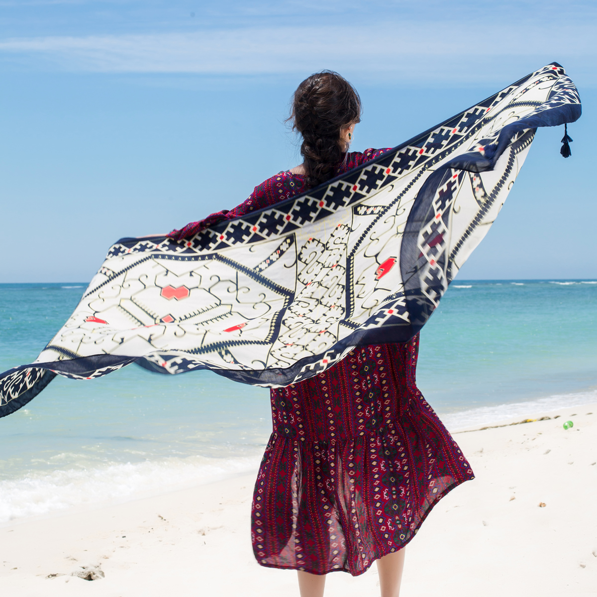 Womens Palm Trees Scarf Tropical Beach Palm Retro Seaside Ladies Shawl Neck Wrap