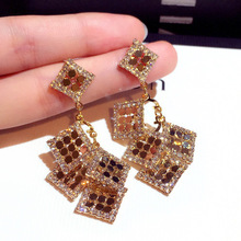 New fashion Korean  earrings long super drill sequins temperament dangle trendy luxury crystal