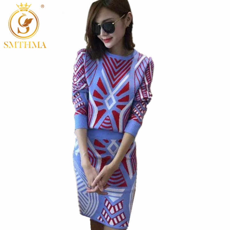 New autumn and winter women geometryt two piece set Long sleeve knit sweater+ women Skirts Suits conjuntos mujer dos piezas