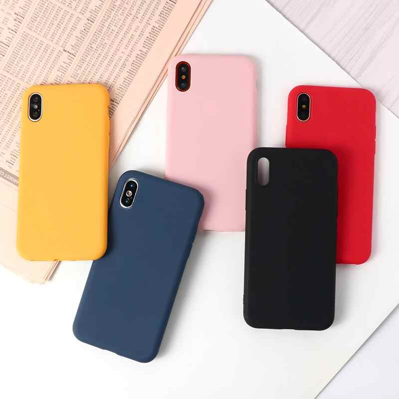 Color caramelo del funda Mate de TPU para Huawei P Smart Z P9 Lite P10 Plus Mate 9 10 20X Y5 Y6 II Y7 Pro 2019 Honor 5X 8C 8 9