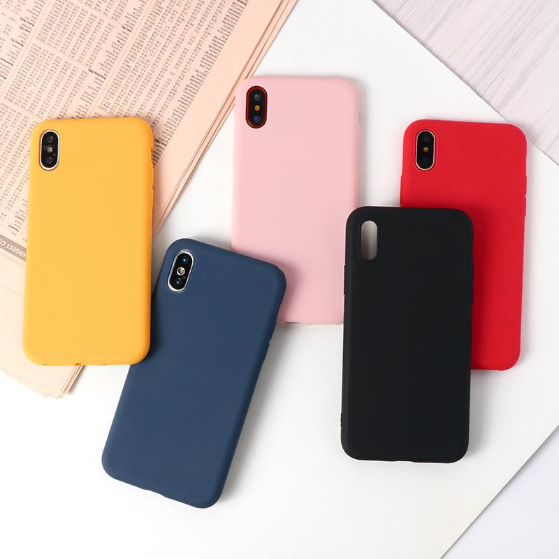 Candy Color Silicon Matte TPU Case For <font><b>Huawei</b></font> P Smart Z P9 Lite P10 Plus Mate 9 10 20X Y5 Y6 II <font><b>Y7</b></font> Pro 2019 Honor 5X 8C 8 9 Case image