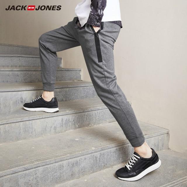 JackJones Men's Stretch Jogger Pants with Zipper Pockets Men's Slim Fit Sweatpants Men's Fitness Trousers 2019 New 219214503 1