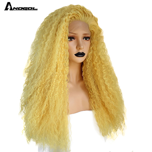 Image 2 - Anogol Yellow Synthetic Lace Front Wig Natural Long Kinky Curly Wig for Women Free Part High Temperature Fiber
