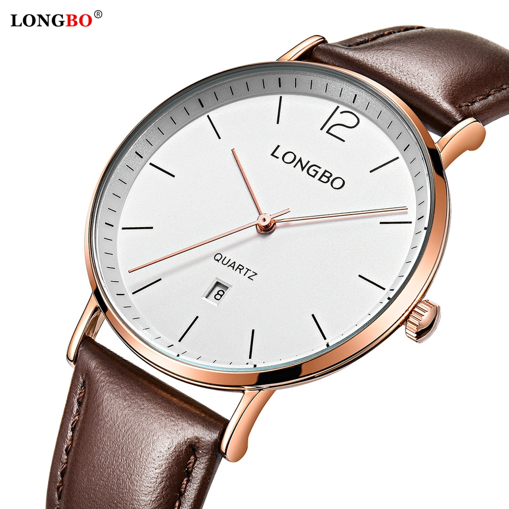 LONGBO Original Top Luxury Brand Casual Chronograph Men's Watches Japanese Quartz Watches Leather Strap White Dial Wrist Watch