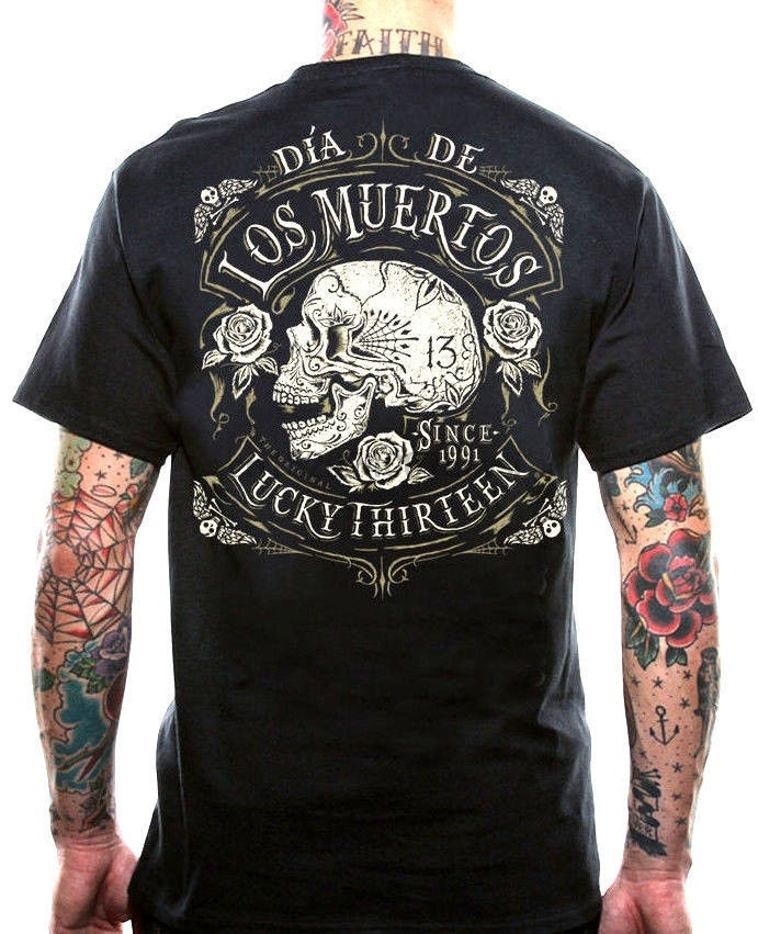 Lucky 13 deod crânio motociclista tottoo punk gótico muerto rockobilly t camisa summber bloco tope para homem