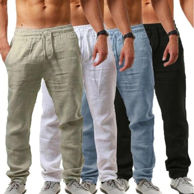 Summertime Men Joggers Pants Sweatpants Cotton  Solid Linen Overalls Casual Pocket Sport Work Casual Trouser Men Pants Streetwea