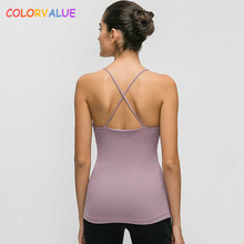 Colorvalue Slim Fit Thicken Fabric Fitness Yoga Vest Women Cotton Feel Padded Workout Sport Tank Tops with Removable Chest Pads