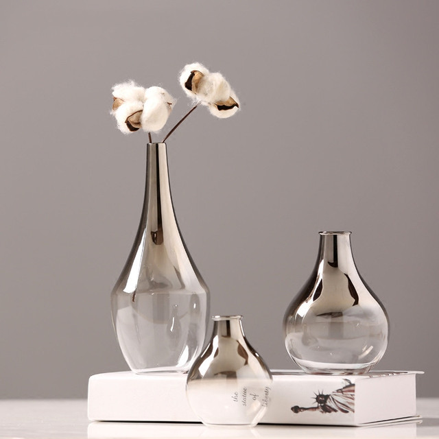Nordic Glass Vase Silver Gradient Dried Nordic Flower Vase Decoration Home Decoration Plants Pots Furnishing Christmas Gift 1