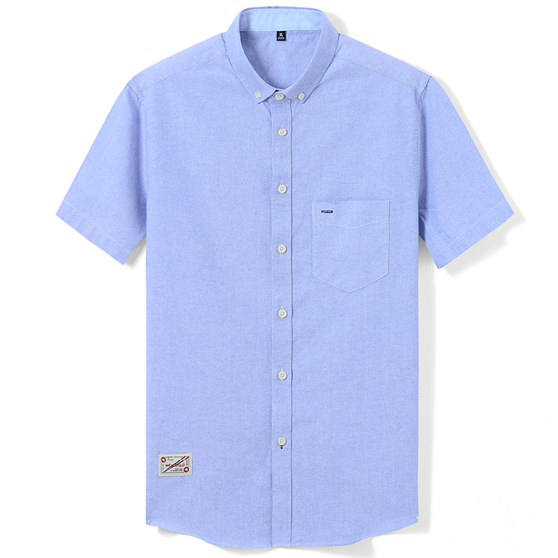 Men's Summer Pure Cotton Oxford Shirts Casual Slim Fit Design Short Sleeve Fashion Male Blouse Shirt 6