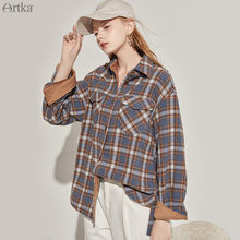Artka 2020 Осенняя новинка Женская блузка винтажная клетчатая