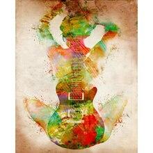 Diy картина по номерам Абстрактная живопись гитары девушка комплект