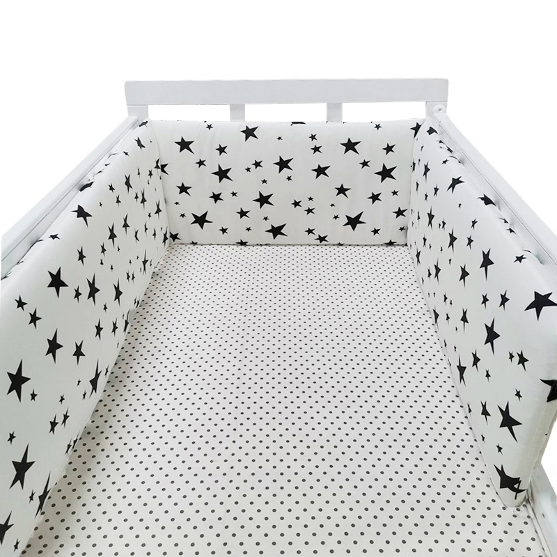 Baby Crib Bumper For Newborns Soft Cotton Bed Bumper Detachable Zipper Baby Room Decoration Infant Cot Protector 1Pcs Unisex
