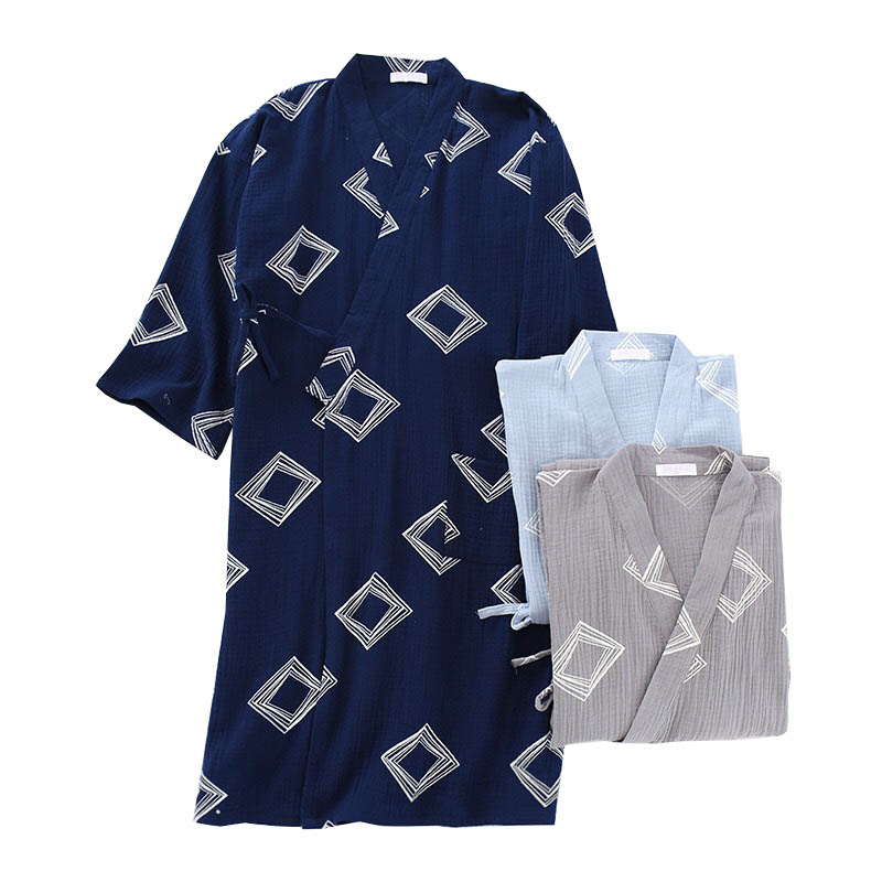 Spring And Summer New Men's Sleepwear Simple Style Comfort Gauze Cotton Robes Kimono Style Loose Thin Homewear Men Bathrobe