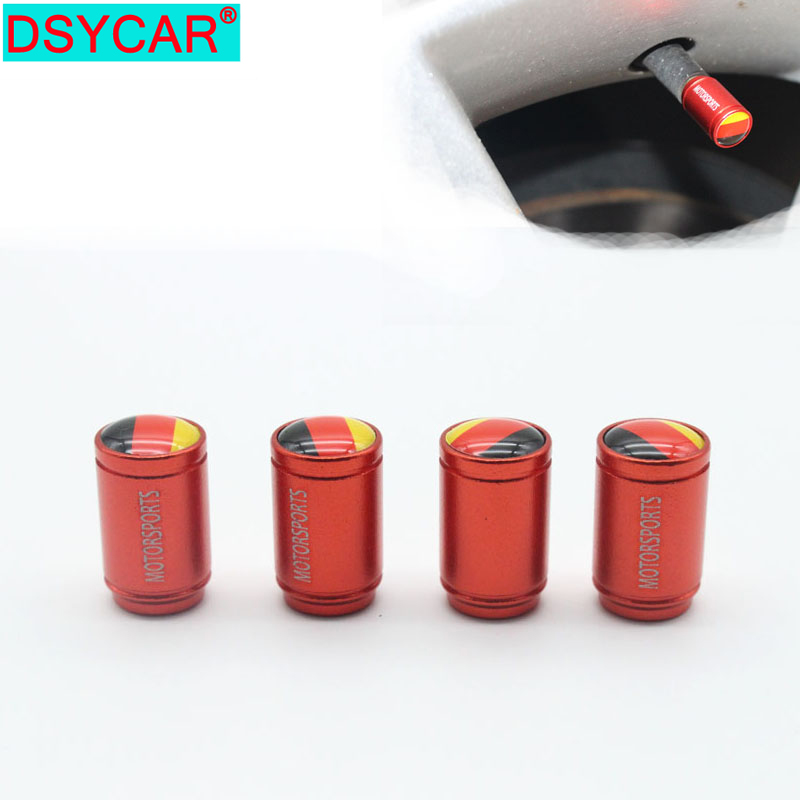 DSYCAR 4Pcs/lot Universal Germany Flag Car Moto Bike Tire Wheel Valve Cap Dust Covers Car Styling For Fiat Audi Ford Bmw Car