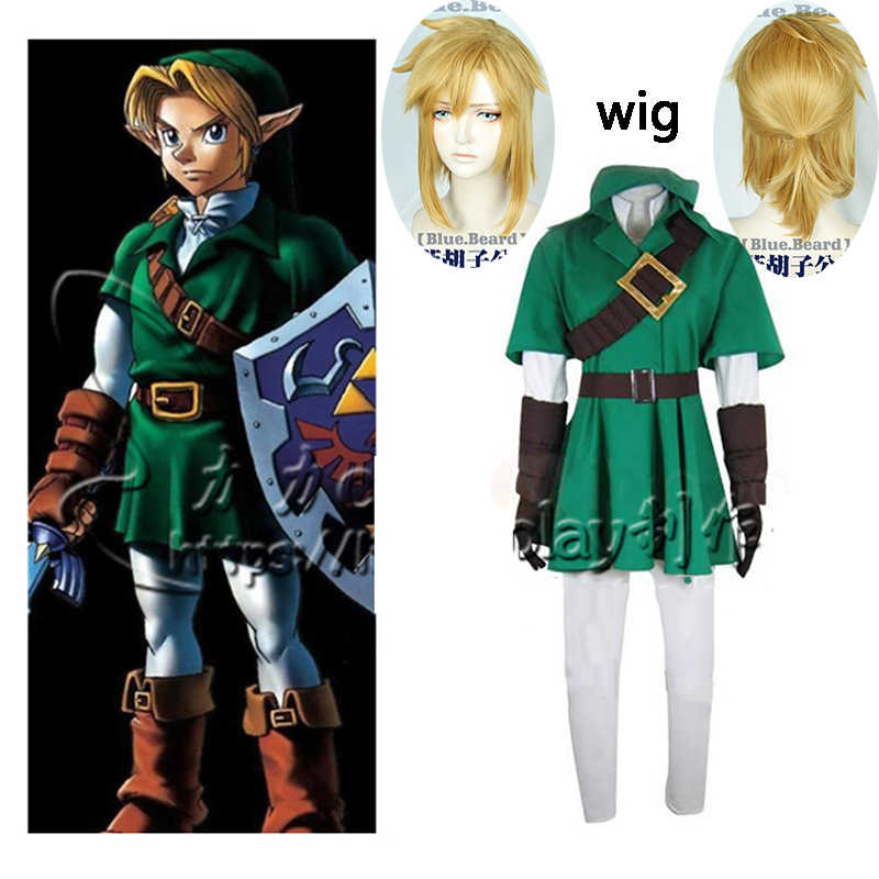 Hot The Legend of Zelda Link Cosplay Costume Set Completo Comic Link Cosplay verde Outfit set Completo di Halloween e parrucca inviare cappello 2019