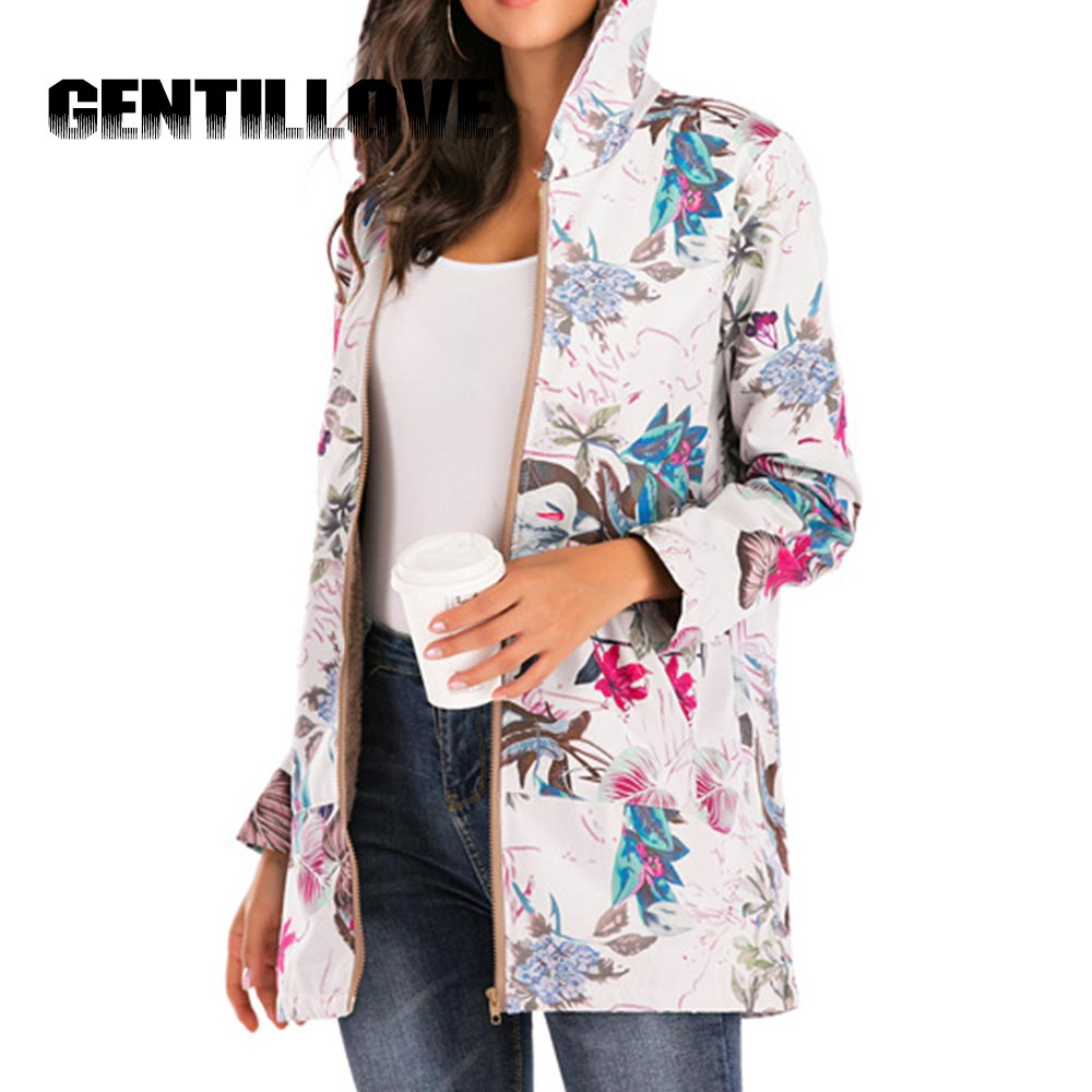 Female Jacket Plush Coat Women's Windbreaker Winter Warm Outwear Floral Print Hooded Pockets Vintage Oversize Coats PlusSize 5XL
