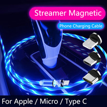 Auto Styling Fluss Luminous Beleuchtung Magnetische USB Kabel Micro Typ C Ladegerät Schnelle Lade Magnet Ladung USB-C Typ-C(China)