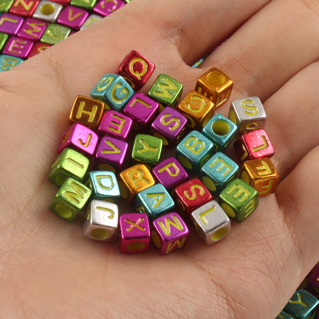 Multicolor plated Letter Acrylic Beads Round Flat Alphabet Love Cube Loose Spacer Beads For Jewelry Making Handmade Diy Bracelet|Beads|   -